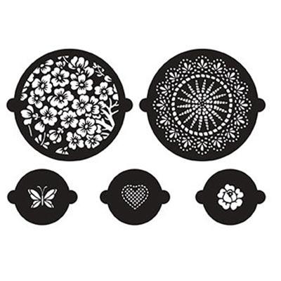 Stencil da cucina per dolci e cupcakes 12 e 24 cm fiori x5 for Stencil per mobili cucina