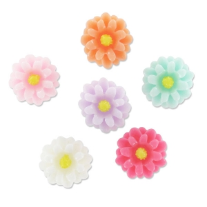 Set di cabochon fiori 12 mm Multicolore x10