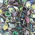 Dragon Scale Bead 1.5x5 mm Crystal Graphite Rainbow x5g