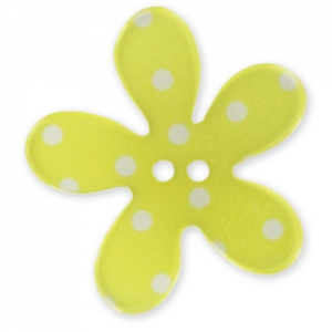 Bottone fiore mm. 30 Pois Giallo x1