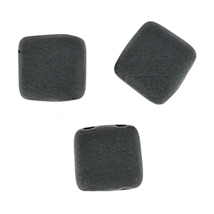 Tile beads 6 mm Jet Mat x50