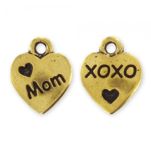 Ciondolo cuore Love Mom mm. 12,5 dorato brunito x1