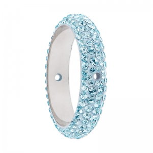 Pavé Ring due fori Swarovski 185001 mm. 14.5 Aquamarine x1