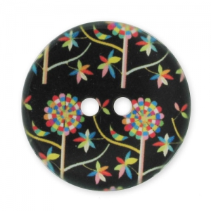 Bottone decorato mm. 28 Fiori Nero/Multicolore x1