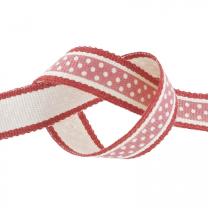 Nastro a pois mm. 13 Rosso/Rosa Vintage x 1m