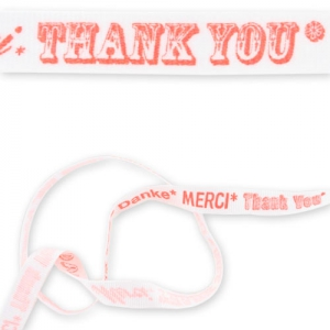 Nastro stampato mm. 12 Merci Thank You Danke Bianco/Corallo Fluo