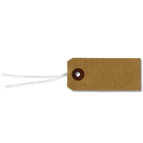 Eccezionale Assortimento di etichette con filo metallo 9x4 cm Kraft x50 - Arte  BW01
