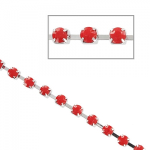 Catena strass acrilico mm. 3 Red Coral rodiato  xm. 1