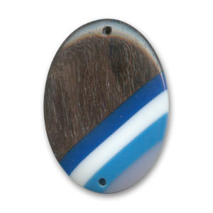 Intercalare in legno oval mm. 35x25 Kamahong /Blu x 1