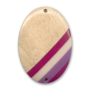 Intercalare in legno oval mm. 35x25 White/Purple x 1