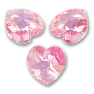Cuore Swarovski 6228 mm. 14,4x14 Light Rose AB x1