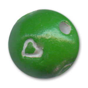Tonda in argilla motivo cuore mm. 15 Green x1