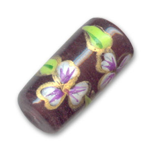 Tubo motivo fiore mm. 20x9 Medium Amethyst x1