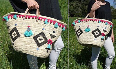 sac en paille customise fini