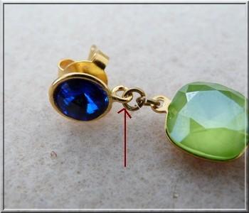 97fcdedf55d7b4 Tutoriel bijoux boucles d'oreilles Salomé avec cristaux Swarovski cabochon  majestic blue et vert lime. Complimenti! Il tuo paio di orecchini è ...