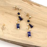 7bc1319eaa9a2e Orecchini pendenti con lapislazzuli e perle Swarovski