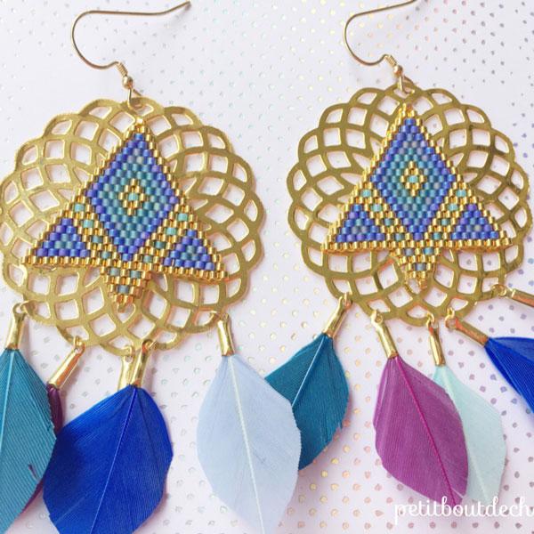 nuovo aspetto prezzo basso San Francisco stampe Stud orecchini fai da te, piume e tessitura miyuki - Perles ...