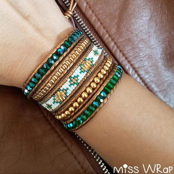 grande qualità vendita professionale vari colori Bracciale avvolgente alla moda verde con gemme di agata e perle ...