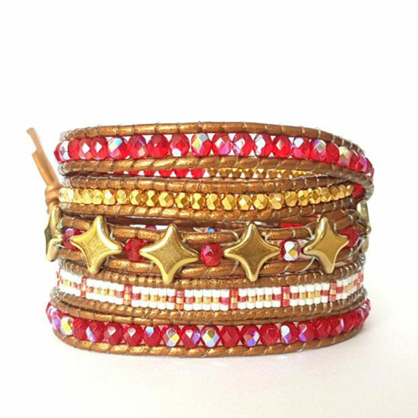 Trendy Red Wrap Bracelet 5 Rounds with Star Beads e Miyuki Delicas Glass Beads