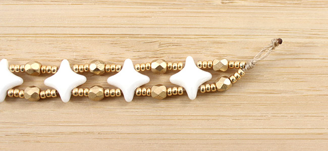 Bracelet Star Beads White Ceramic Look 3