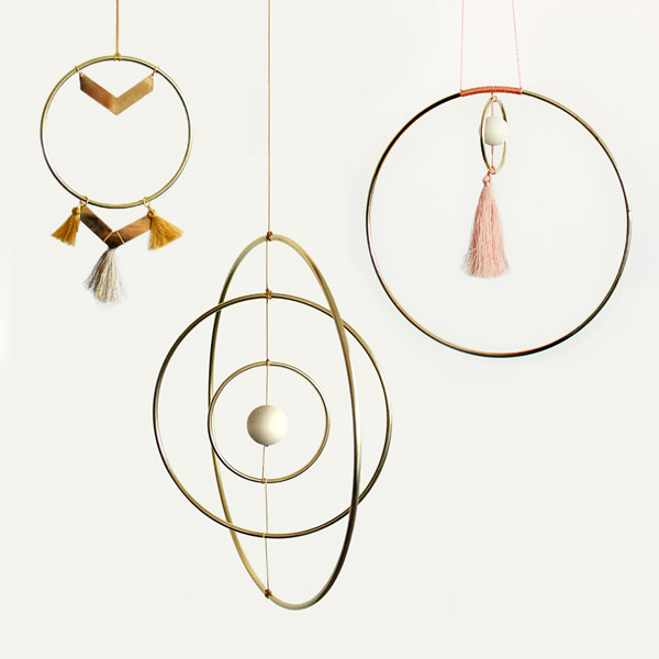 Fai da te Deco mobile Galaxy Globe e Wall Hanging stile scandinavo con cerchi metallici in ottone