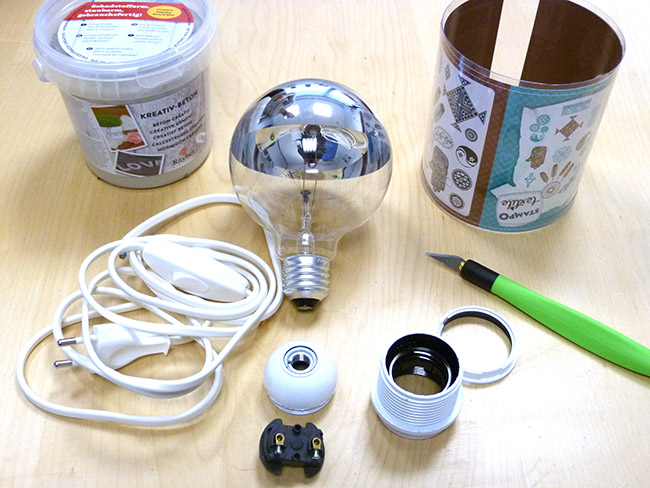 Lampada In Cemento Fai Da Te : Lampada concreto creativo fai da te perles co