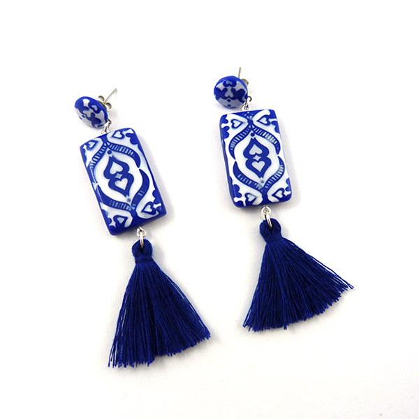 Boucles d 39 oreilles en p te polym re imitation c ramique perles co - Imitation ceramique autocollante ...