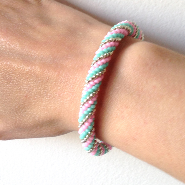 spiral crochet bracelet with beads