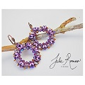 Purple earrings with superduo miniduo honeycomb beads by Julie Roméro