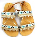 Customize your sandals with geometric ribbon and chain