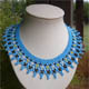 Netting blue Necklace with seed beads Ornella