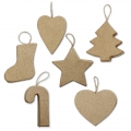 Assortimento di 6 forme da decorare in cartone 7- 8 cm Decorazione di Natale