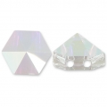 Hexagon Spike Bead Swarovski 5060 doppio foro7.5 mm Crystal AB x1