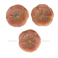 Perline in vetro Hawaiian Flowers Beads 12 mm Opaque Rose Travertin x10
