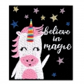 Termoadesivo - Message 60x50 mm Believe in magic- unicorno x1