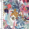 Tessuto Liberty - Tropical Trails - Petrolio/Rosa/Marrone x10cm