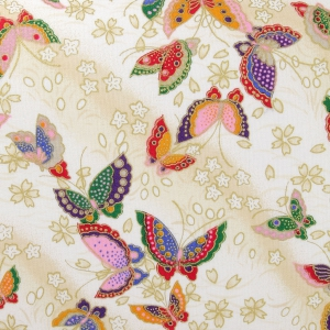 4c954084c2 Tessuto giapponese Kurenai in cotone - Farfalla - Crema / Multicolore x10 cm