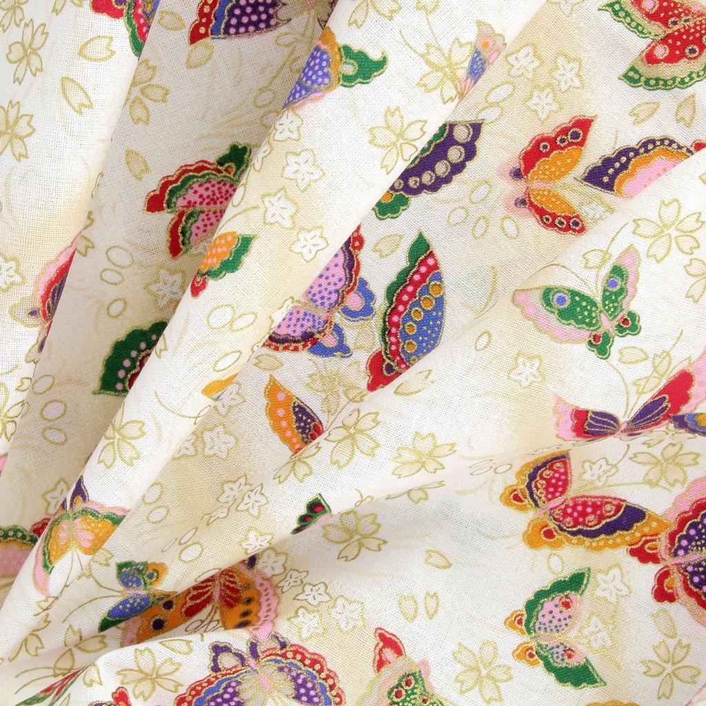 62c4dd21d9 ... Tessuto giapponese Kurenai in cotone - Farfalla - Crema / Multicolore  x10 cm ...