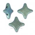 Perline di vetro Star Bead Perles and Co 11x11 mm Green Turquoise Met Mat x30