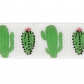 Gallone tema tropicale 10 mm Cactus Bianco / Verde x1m