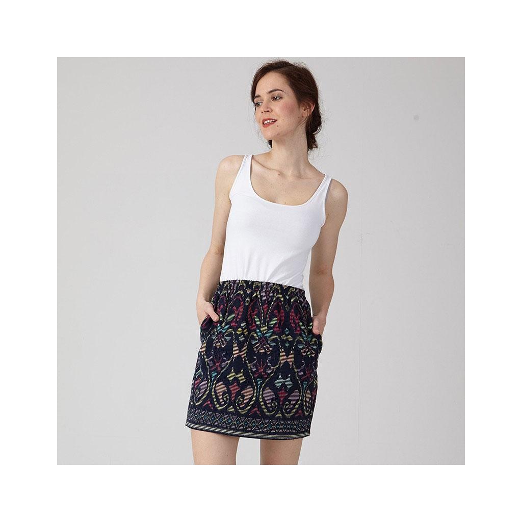 cartamodellocoralie bijasson sandra jupe droite poches taille lastique perles co. Black Bedroom Furniture Sets. Home Design Ideas
