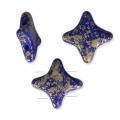 Perline di vetro Star Bead Perles and Co 11x11 mm Op Sapphire Gold Splash x30