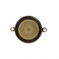 Distanziatore/connettore per cabochon retro piatto 20 mm bronzo x1