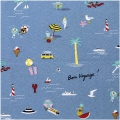 Tessuto di cotone - Travvel the World - Bon Voyage - Blu x10cm