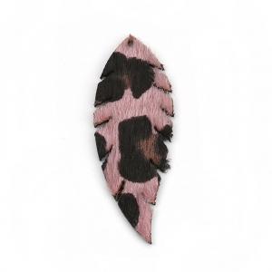 pendente piuma imitazione cuoio 55x20 mm rosa nero x2 perles co. Black Bedroom Furniture Sets. Home Design Ideas