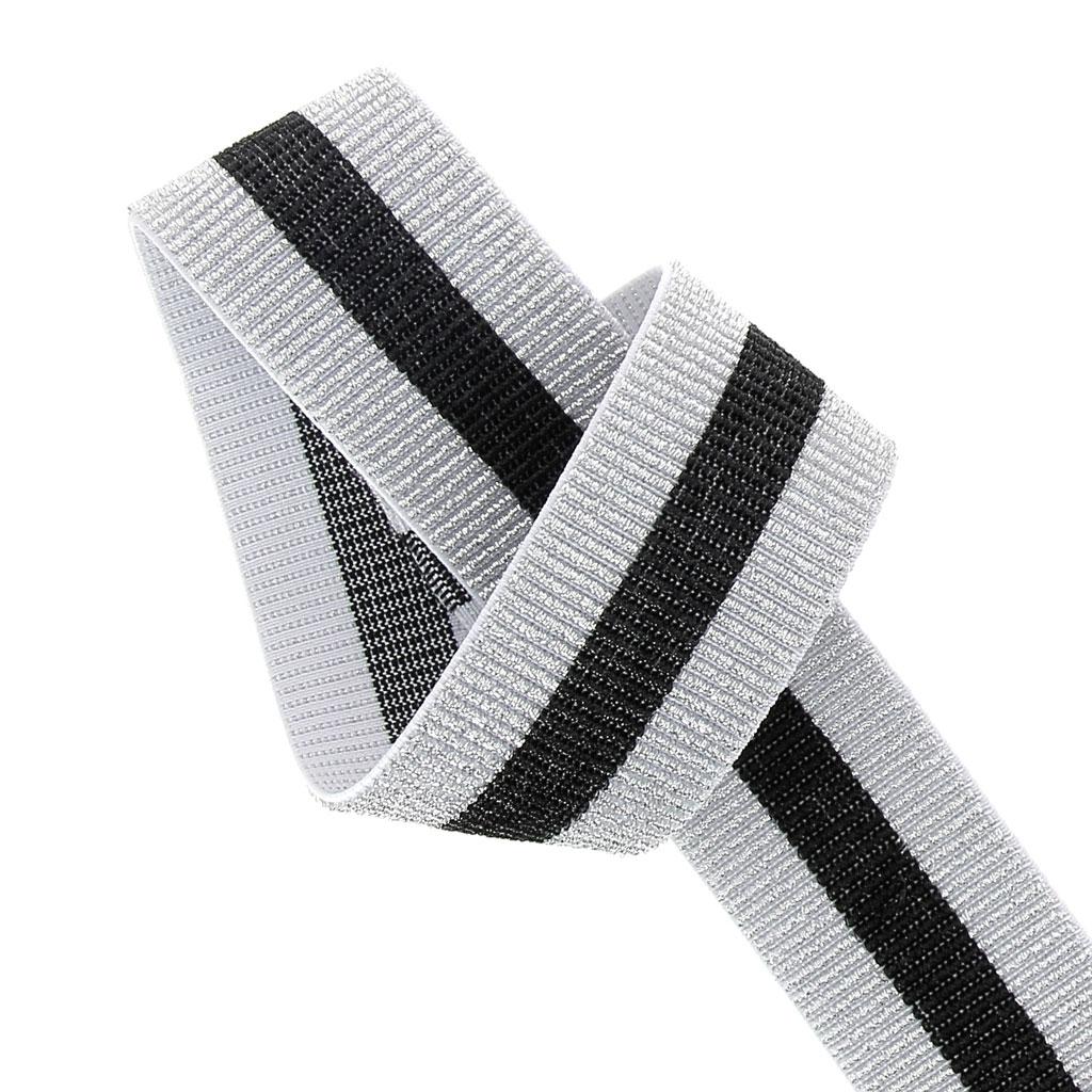 laccetto elastico largo a righe per cucito 40 mm argento. Black Bedroom Furniture Sets. Home Design Ideas