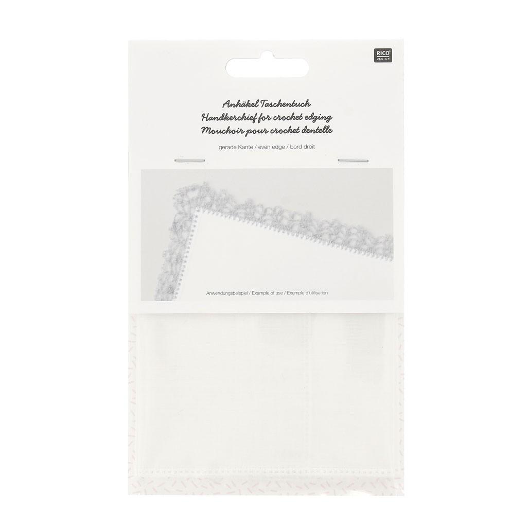prezzo migliore Più affidabile vendita calda Fazzoletti 100% cotone per uncinetto o da ricamo, bordo dritto - Bianco x1