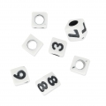 Set di perline cifre mm. 6 bianco x80