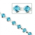 Catena Swarovski strass mm. 4 Aquamarine rodiato xcm.20