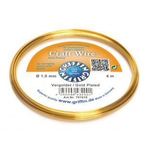 Filo di rame Craft Wire tondo 1 mm Placcato Oro x4 m